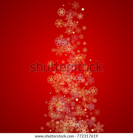 Christmas snow on red background. Glitter frame for seasonal winter banners, gift coupon, voucher, ads, party event. Santa Claus colors with golden Christmas snow. Falling snowflakes for holiday