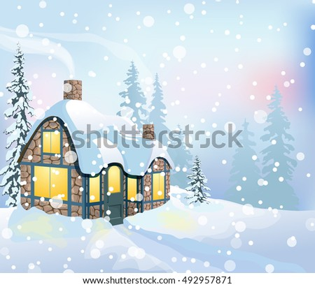 Christmas Snow Scene With Country House And Fir Tree Winter Forest Holiday Background
