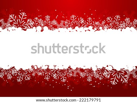 Christmas snowflake border on red - stock vector