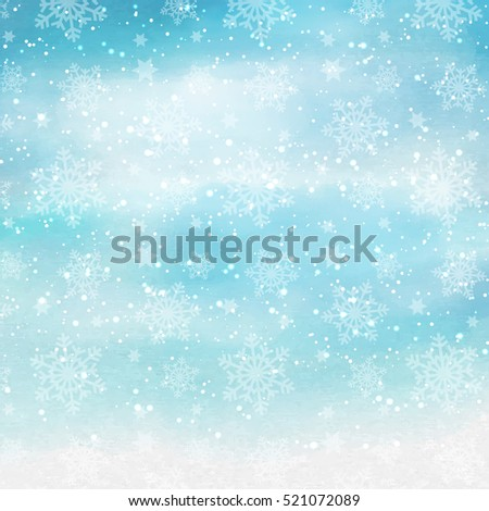 Christmas snowflake design on a watercolor background