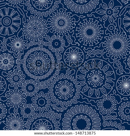 ... lacy crochet seamless pattern in blue and white, vector - stock vector