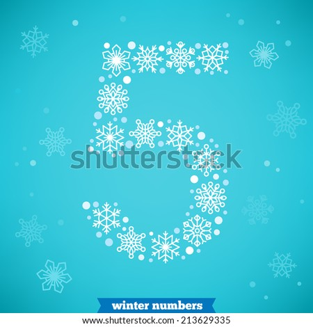 Christmas snowflake numbers. Number five - stock vector