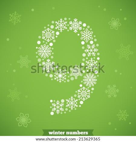 Christmas snowflake numbers. Number nine - stock vector