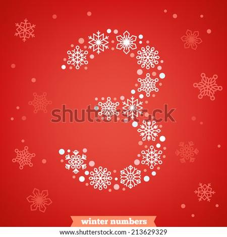 Christmas snowflake numbers. Number three - stock vector