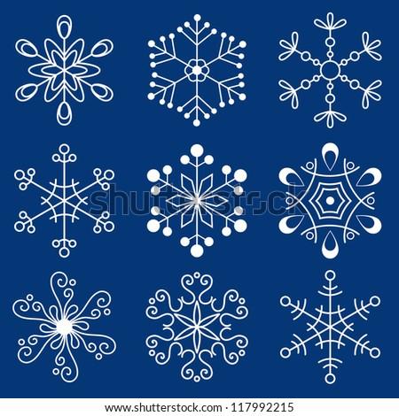 Christmas snowflakes - stock vector
