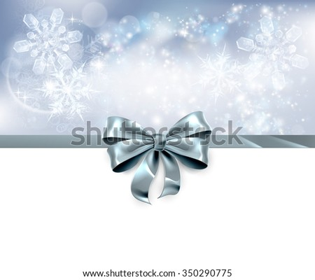 Christmas snowflakes and bow ribbon silver abstract Christmas background. White at the bottom and side for easy use as header.  - stock vector