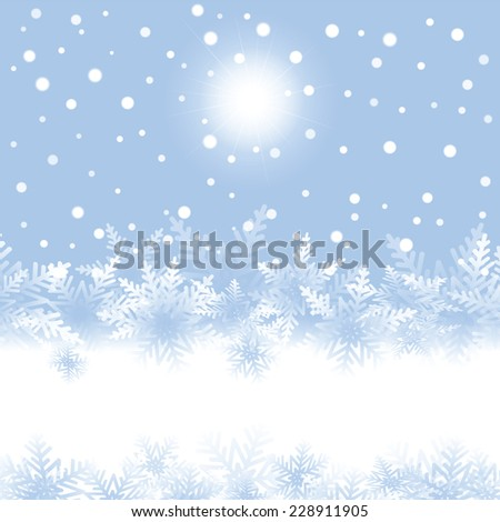 Christmas snowflakes and sun on blue background. Vector illustration.