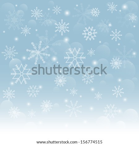 Christmas snowflakes background. Falling snowflakes on snow. Vector illustration - stock vector