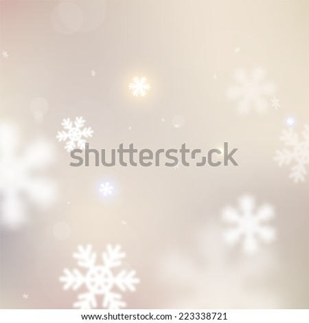 Christmas Snowflakes Blurred Background, vector  - stock vector