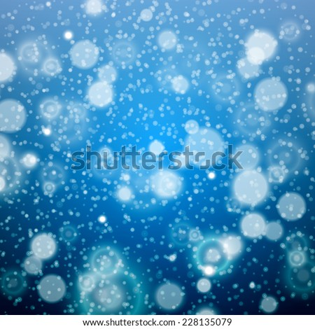 Christmas snowflakes blurred  background.  Vector illustration. art blue - stock vector