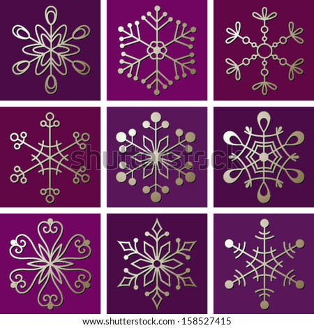 Christmas snowflakes, greeting card - stock vector