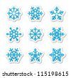 Christmas snowflakes icons set - stock photo