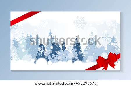 Christmas Snowflakes on Background with a silhouette of trees. Vector Illustration. EPS10 - stock vector