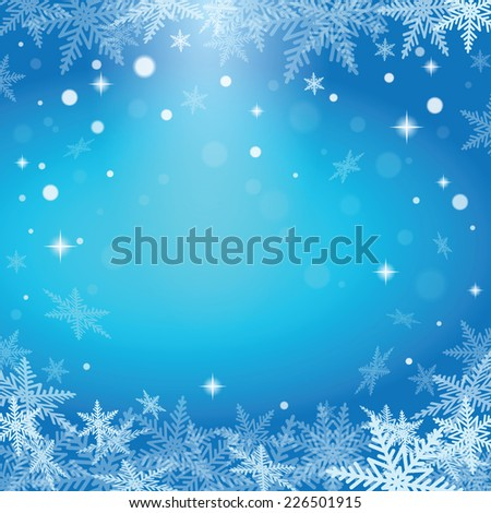 Christmas snowflakes on blue background. Vector illustration.  - stock vector