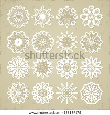 Christmas snowflakes - stickers. Retro style. Imitation paper. Soft colors.  - stock vector