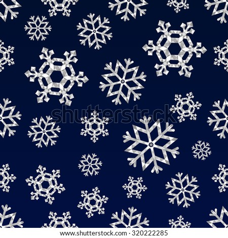 Christmas snowflakes, triangle seamless pattern, vector ornaments - stock vector