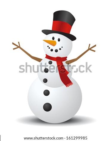 Christmas Snowman - stock vector