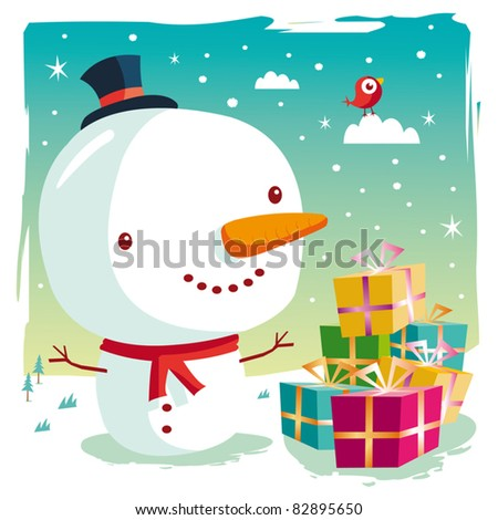 Christmas - snowman and his gifts - stock vector