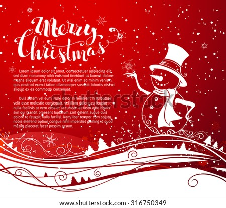 Christmas snowman background. Cute snowman in hat and scarf. Waves pattern. Hand-written Merry Christmas. There is copy space for your text.  - stock vector