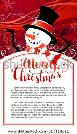 Christmas snowman background. Cute snowman on red background. Hand-written Merry Christmas. There is copy space for your text in the center of frame.  - stock vector