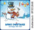 Christmas Snowman card. Cute snowball standing outside, in winter town with little singing bird. Holiday cartoon greeting card, with space for your text. - stock vector