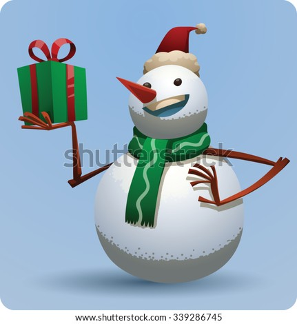 Christmas snowman in christmas red hat and green scarf holding a green gift box with red ribbon, vector - stock vector