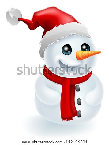 Christmas Snowman wearing a Santa Hat and red scarf - stock vector