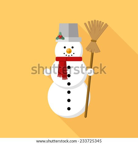 Christmas snowman with bucket and broom icon with long shadow. Vector illustration minimal flat design.  - stock vector