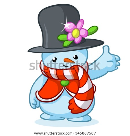 Christmas snowman with grey hat and striped scarf isolated on white background. Vector illustration - stock vector