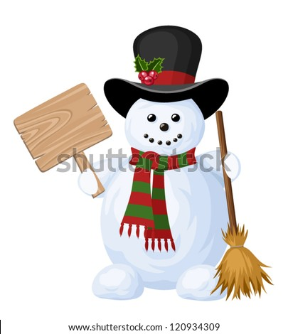 Christmas snowman with sign. Vector illustration. - stock vector