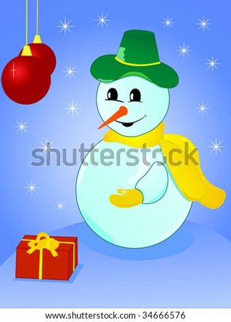 Christmas snowman with snowflake in his hand
