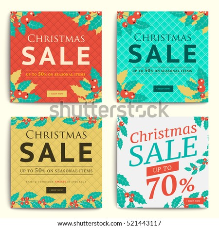 Christmas Social Media Sale Banners Mobile Stock Vector 521443117 ...
