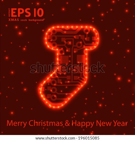 Christmas sock in circuit board style background. eps10 vector illustration  - stock vector