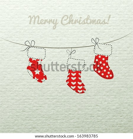 Christmas sock santa red on vintage watercolor paper hanging on a rope. Vector EPS 10 illustration. - stock vector