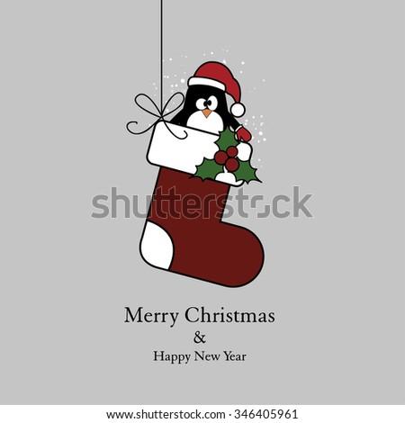 Christmas socks and penguin - stock vector