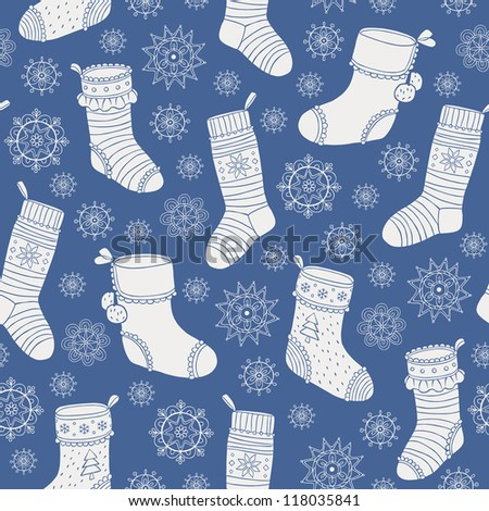 Christmas socks seamless pattern