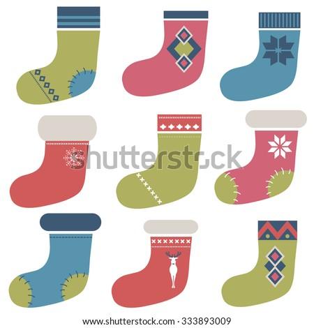 Christmas socks set - stock vector