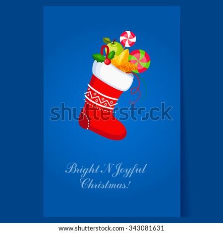 Christmas Socks with Presents. Winter Vector Illustration - stock vector