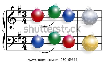 Christmas song composed of colorful shiny christmas tree balls instead of notes. Isolated vector illustration over white background. - stock vector
