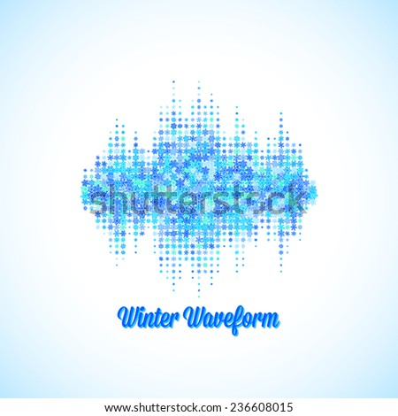 Christmas sound and music waveform made of different scattered snowflakes - stock vector