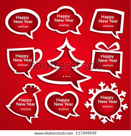 Christmas speech bubles applique set various shapes with New Year Greetings - stock vector