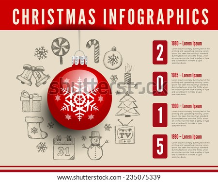 Christmas sphere. Vector infographics with drawing background - stock vector