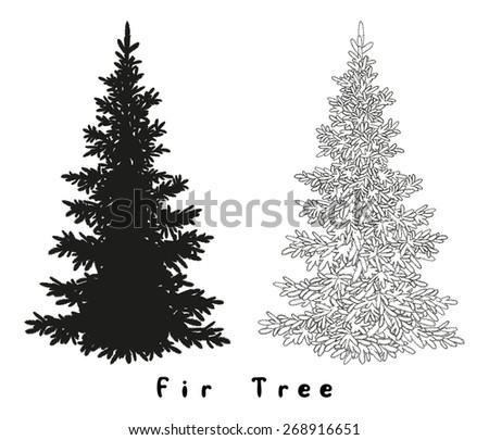 Christmas Spruce Fir Tree Black Silhouette, Contours and Inscriptions Isolated on White Background. Vector - stock vector