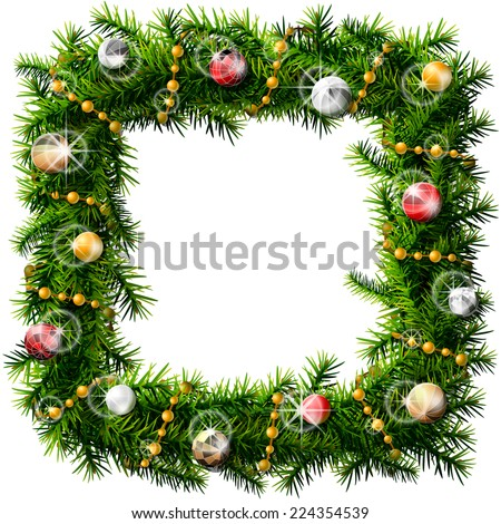 Christmas square wreath with decorative beads and balls. Decorated wreath of pine branches isolated on white. Vector image for new year's day, christmas, decoration, winter holiday, design, silvester - stock vector