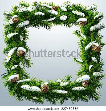 Christmas square wreath with snow and pine cones. Wreath of pine branches after snowfall. Vector illustration for new year's day, Christmas, decoration, winter holiday, design, Silvester, etc - stock vector