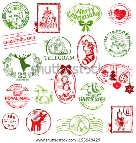 Christmas Stamp Collection -  for design, scrapbook, invitation - in vector - stock vector