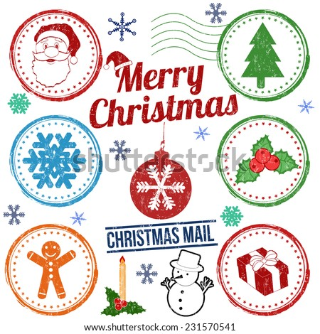 Christmas stamp set isolated on white background, vector illustration - stock vector