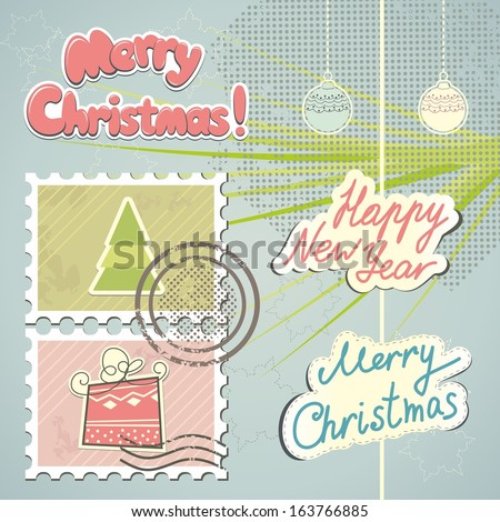 Christmas stamps and decorations - stock vector