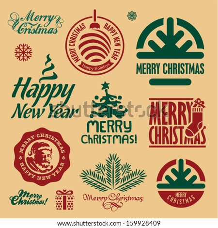 Christmas stamps. Merry Christmas and Happy New Year vector labels. - stock vector