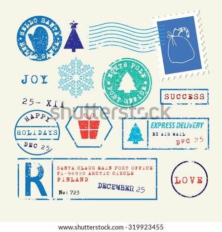 Christmas Stamps set - stock vector